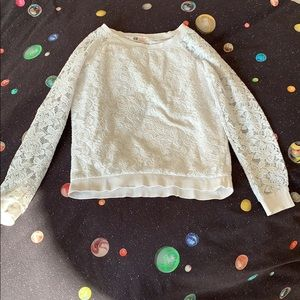 Lace cute white sweater